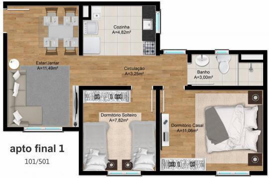 ApartamentoVenda em CANOAS no bairro ESTANCIA VELHA